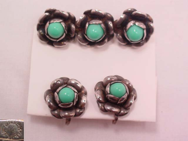 Mexican Silver Roses and Imitation Turquoise Pin and Earrings Set