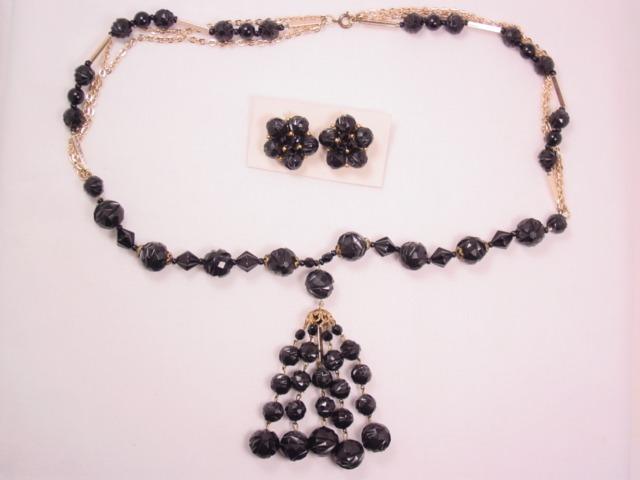 West Germany Black Plastic Necklace & Earrings Set