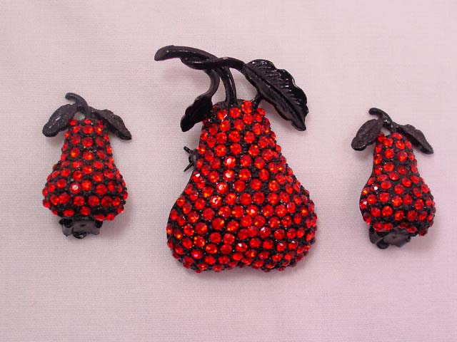Black and Red Rhinestone Pear Pin and Earrings Set