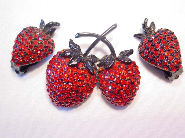 Vibrant Red and Black Strawberry Pin and Earrings Set