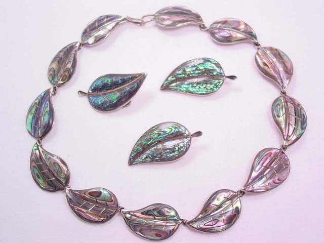 Taxco Sterling and Abalone Leaf Necklace and 3 Pins Set