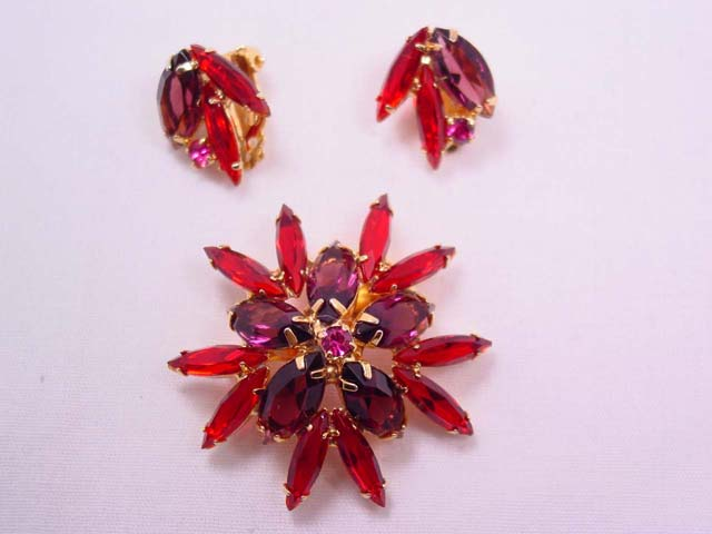 Vibrant Purple and Red Rhinestone Pin and Earrings Set