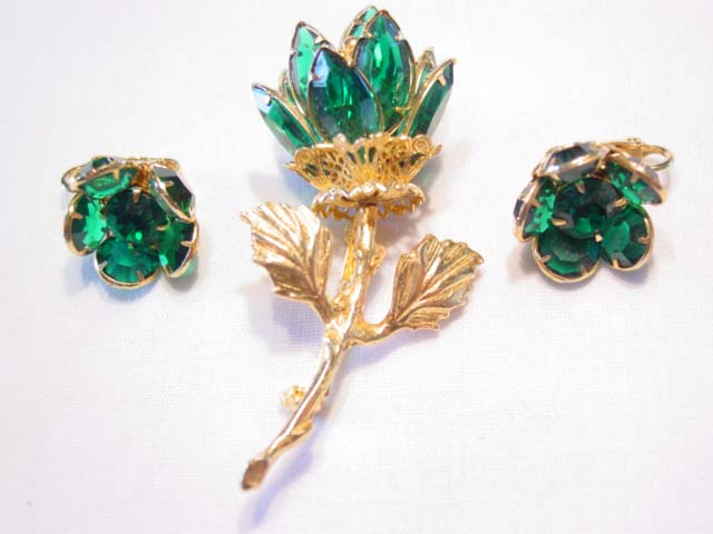 3-Dimensional Forest Green Rhinestone Flower Pin and Earring