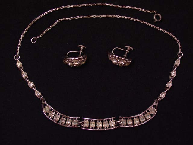 Square Rhinestone Bogoff Necklace and Earrings Set