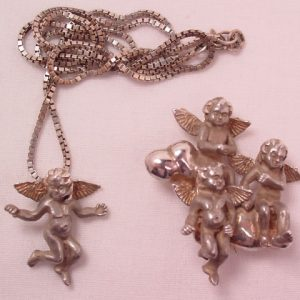 Kabana Sterling Angels on Cloud Pin and Necklace