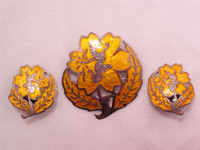 Sterling Siamese Gold-Colored Enamel Flower Pin and Earrings Set