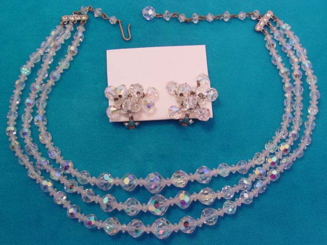 3-Strand Aurora Borealis Necklace and Earrings Set