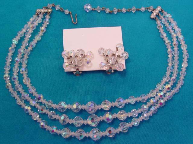 3-Strand Aurora Borealis Necklace and Earrings Set