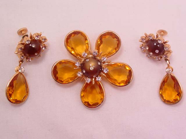 Topaz-Colored Flower Pin and Earrings
