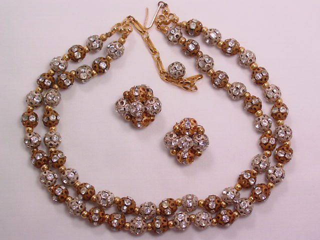 West Germany Silver and Gold and Rhinestone Pierced Bead Necklace