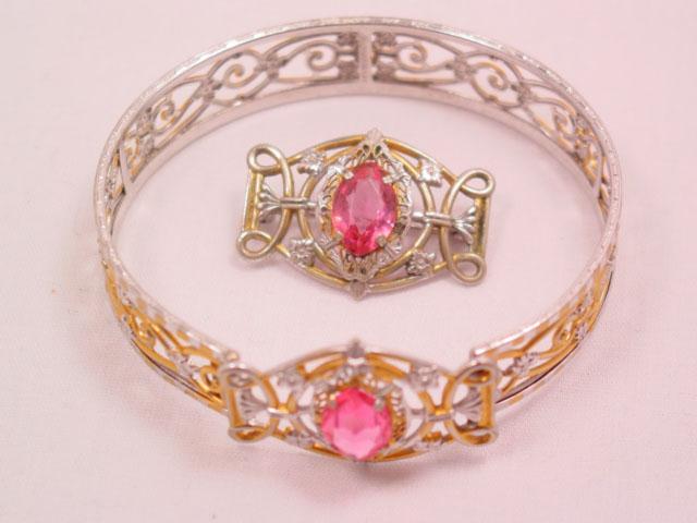 Beautiful Old Filigree and Pink Rhinestone Bracelet and Pin Set