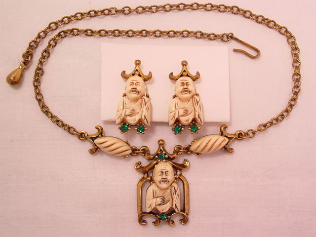 Buddah Necklace and Earrings Set