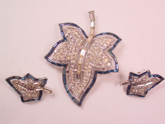 Trifari Rhinestone Maple Leaf Pin and Earrings Set