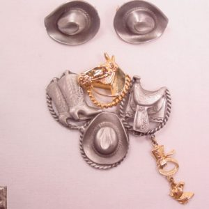 Ultra Craft Silvertone and Goldtone Western Theme Pin and Earrings Set