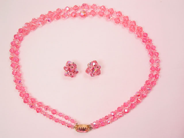 Vibrant Pink Aurora Borealis Necklace and Earrings Set