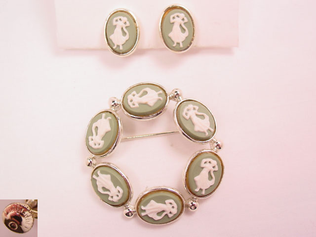 Longcraft Full-Figure Cameo Pin and Earrings Set