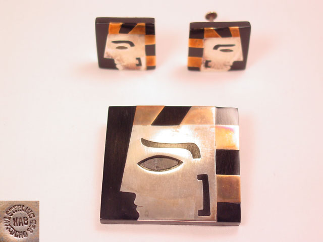 HAB Mexican Sterling Geometric Face Pin and Earrings Set