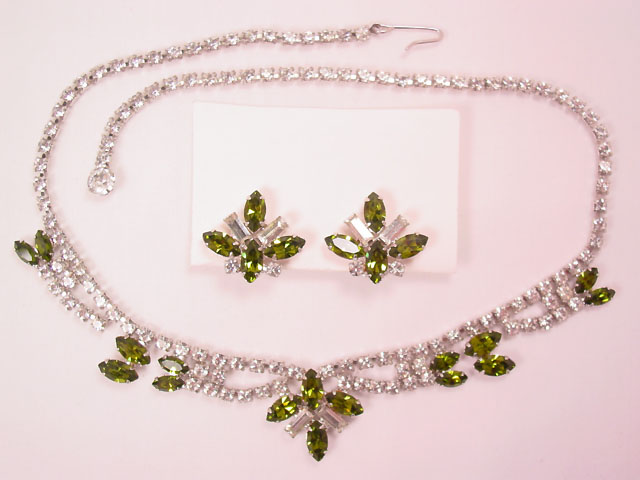 Beautiful B.  David Clear and Olive Rhinestone Necklace and Earrings Set in Original Box