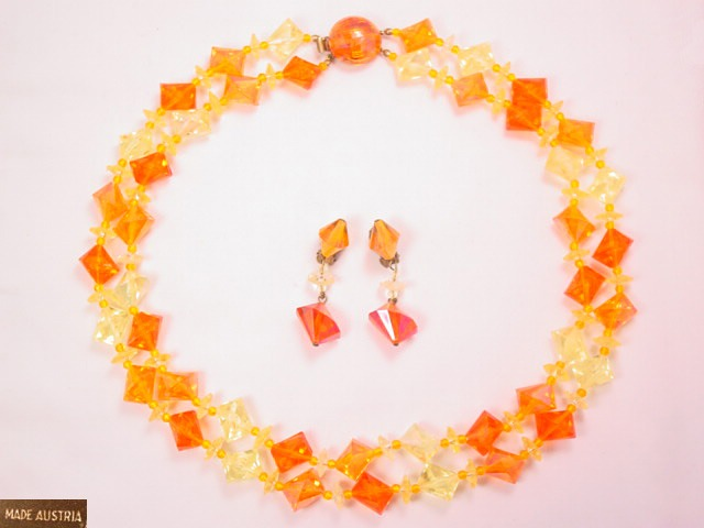 Austrian Orange and Yellow Plastic Necklace and Earrings Set