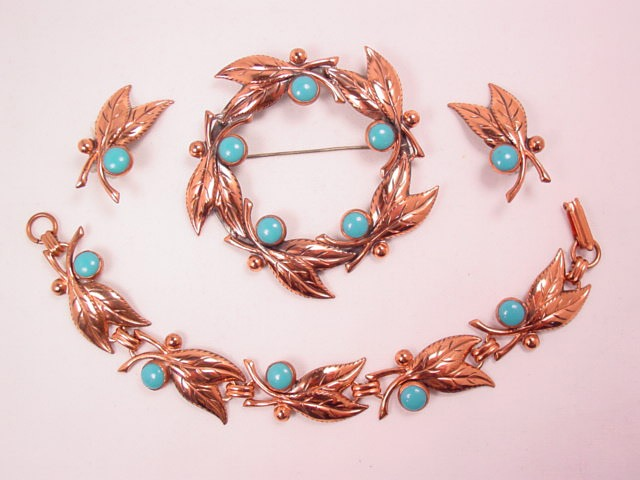 Beautiful Bell Copper and Imitation Turquoise Parure