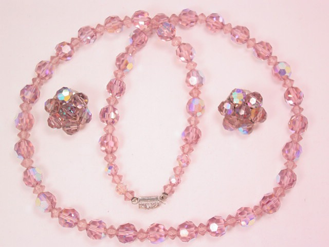 Lavender Aurora Borealis Crystal Necklace and Earrings Set