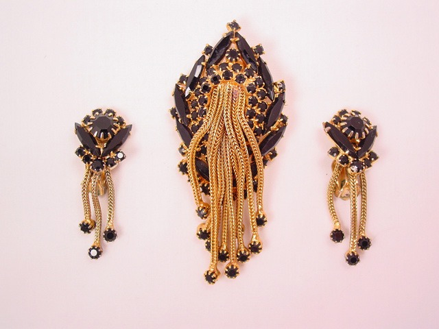 Black and Gold Cascade Pin and Earrings Set