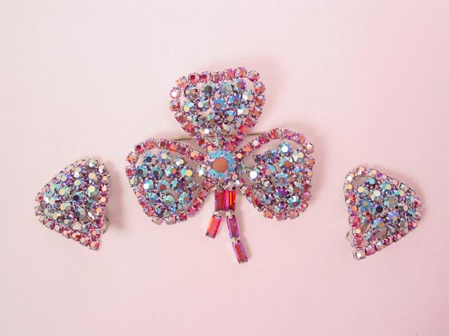 Dazzling Red Aurora Borealis 3-Leaf Clover Pin & Earrings Set