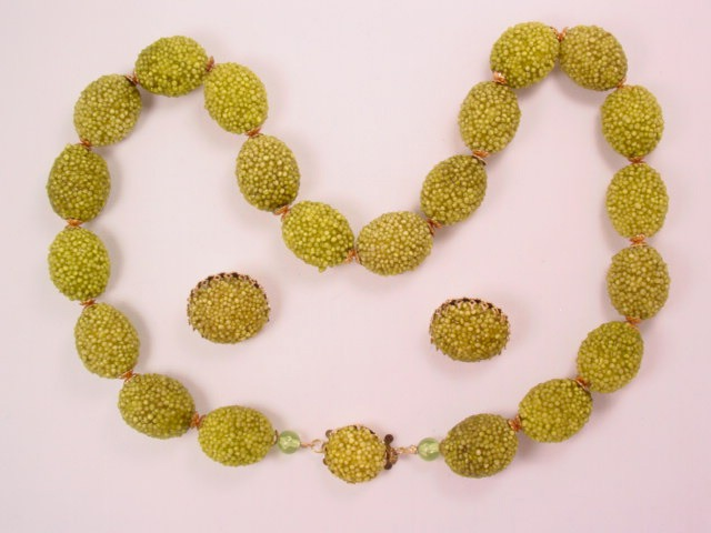 West German Olive Green Lumpy Bead Necklace and Earrings