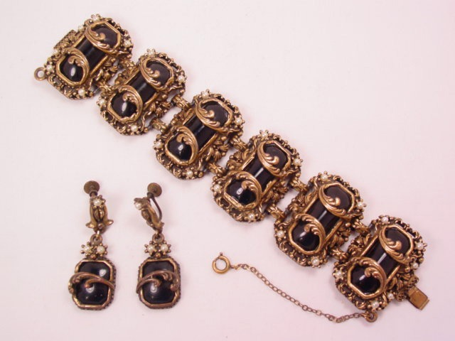 Antique Goldtone and Black Plastic Bracelet and Earrings Set