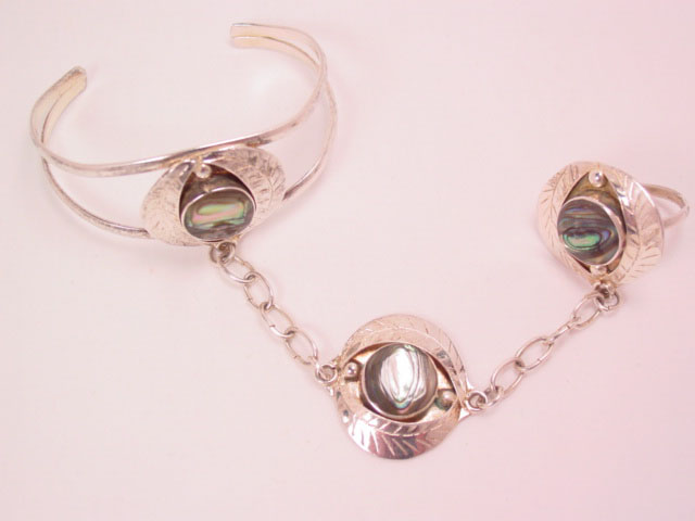 Alpaca Mexico Abalone Slave Bracelet and Ring