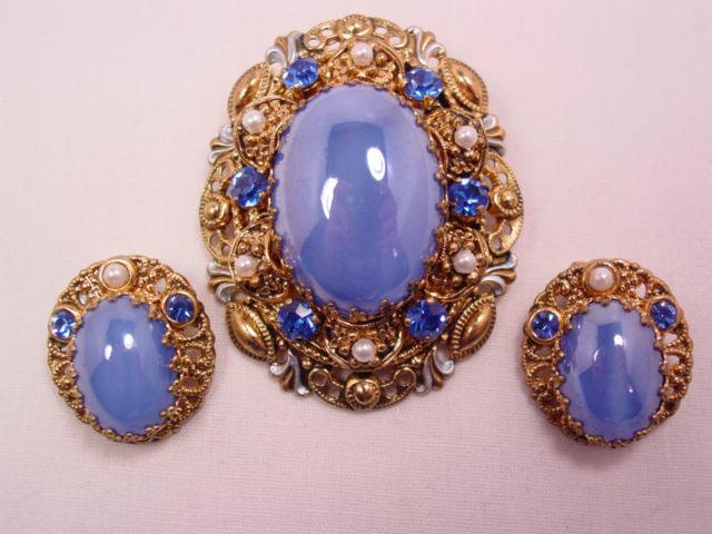 Beautiful West German Blue Pin and Earrings