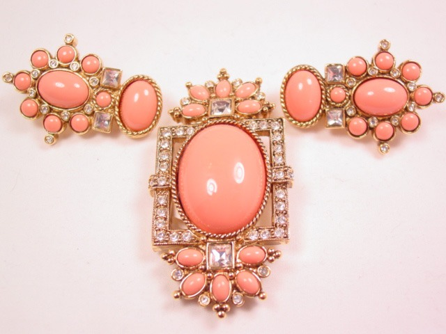 1995 Elizabeth Taylor for Avon Sea Coral Collection Pin and Earrings Set