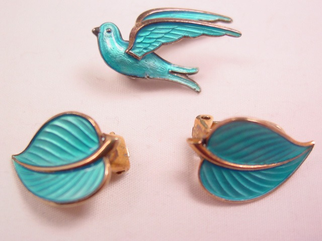 Norway Sterling Blue-Enamelled Bird and Leaves Pin and Earrings Set