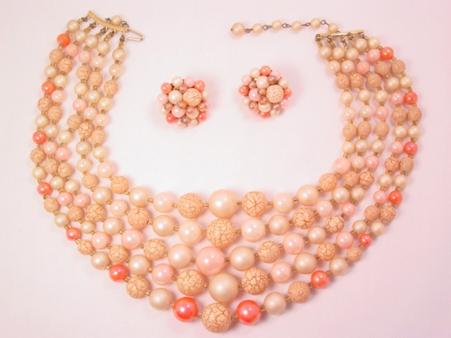 Coral and Beige Plastic Necklace and Earrings Set