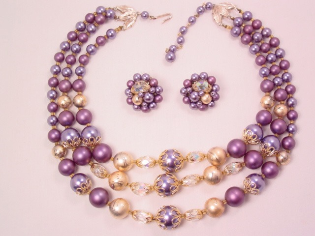 3-Strand Beautiful Shades of Purple with Aurora Borealis Crystals Necklace and Earrings