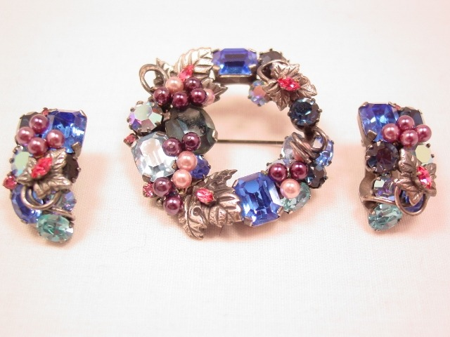 Austrian Blue and Pink Wreath Pin and Earrings Set