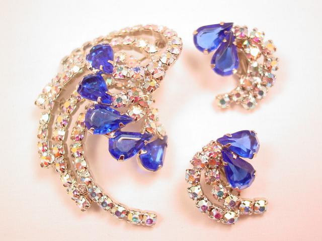 Cobalt Blue and Aurora Borealis Swirl Pin and Earrings Set