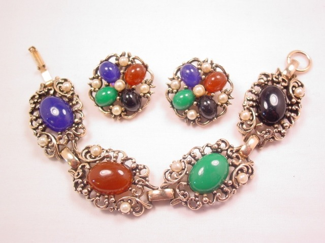 Imitation Natural Stone Bracelet and Earrings Set