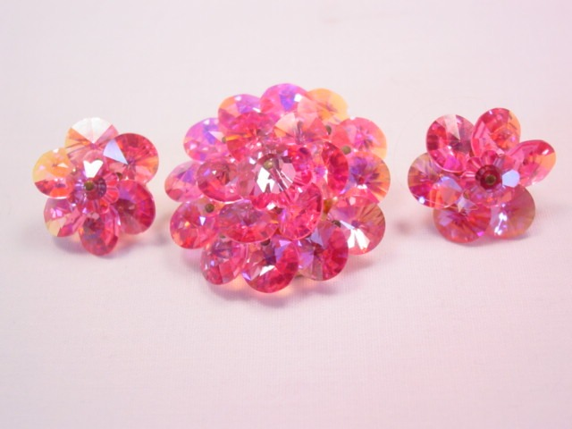 Bright Pink Aurora Borealis Beaded Pin and Earrings