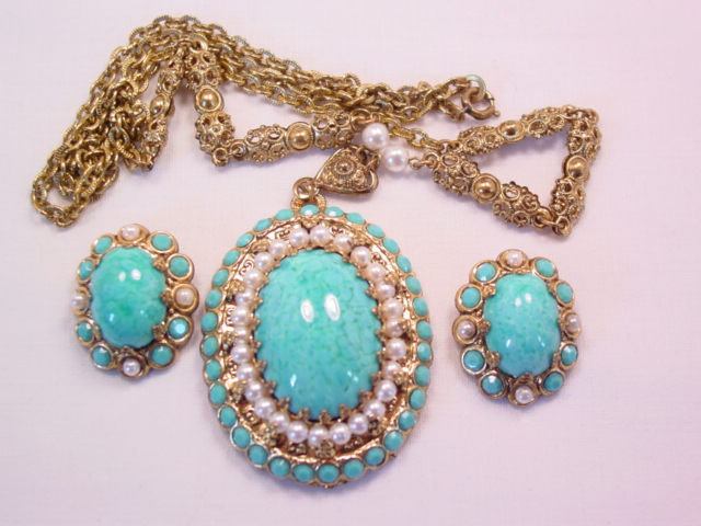 West German Imitation Turquoise Necklace and Earrings Set