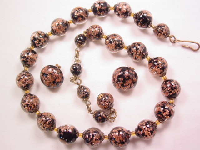 Black and Gold Murano Glass Necklace and Earrings Set