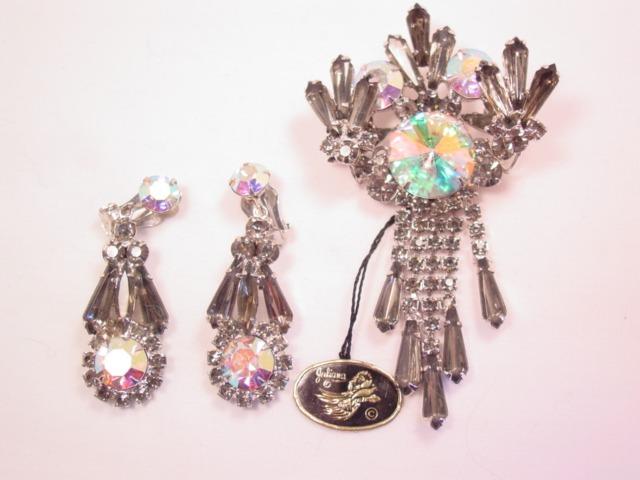 Beautiful Juliana Smoky Gray Rhinestone Pin and Earrings Set with Original Tag