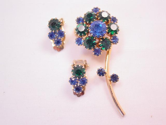 Delicate Blue and Green Rhinestone Flower Pin and Earrings Set