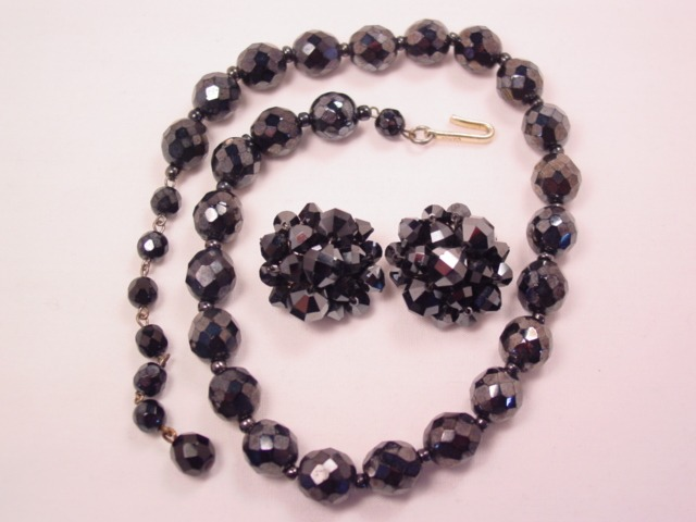 Imitation Hematite Black Glass Necklace and Earrings Set