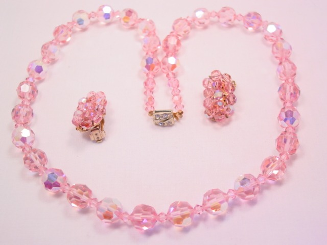 Pale Pink Aurora Borealis Necklace and Earrings Set