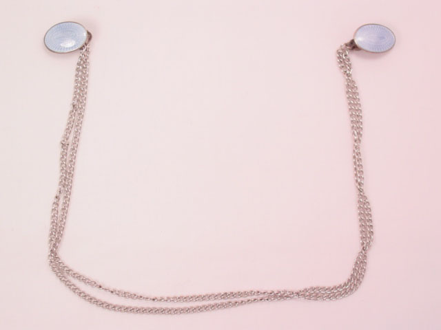 A.L.L. CO. Sterling and Pale Blue Enamel Sweater Guards