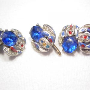Old Blue Rhinestone Cuff Buttons and Cuff Link Set
