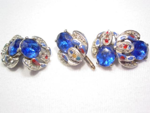 Old Blue Rhinestone Cuff Buttons and Cuff Link Set