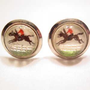 Reverse Glass Horse Jumping Cuff Links