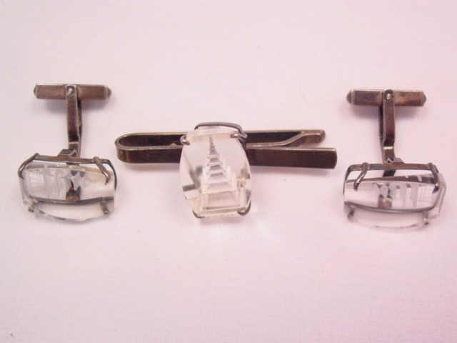 Beautiful Pagoda Crystal and Sterling Tie Clip and Cuff Links Set